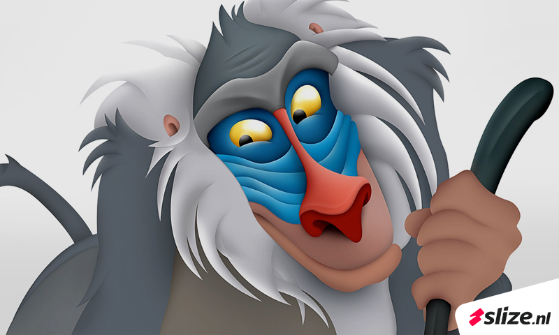 Disney lion king rafiki tekenen, digitaal schilderen in Photoshop