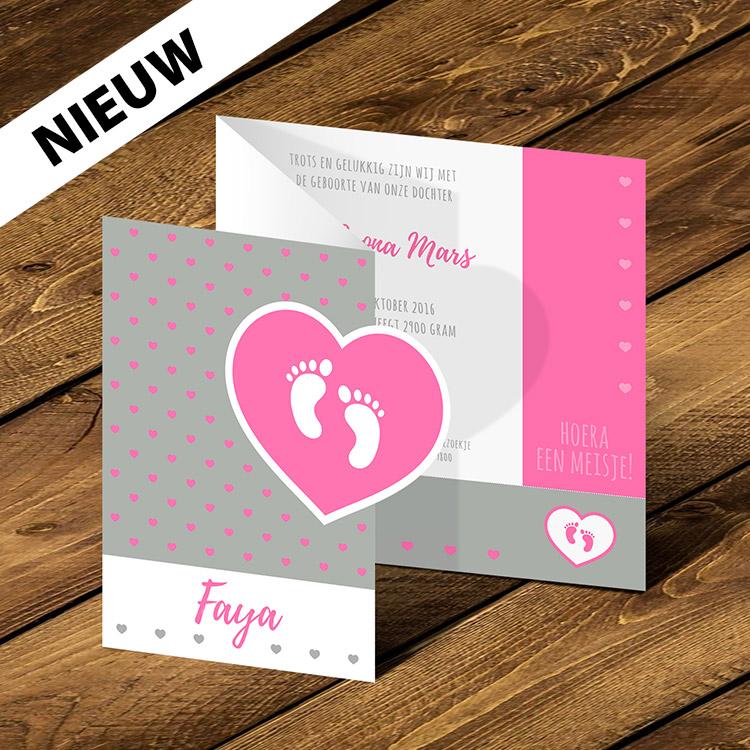 Geboortekaartje meisje. Full colour drukwerk, speciale vorm (stansen), rillen en vouwen | Print en drukwerk specials Oldenzaal