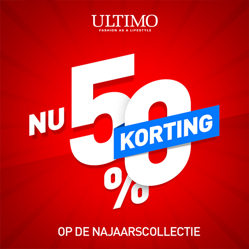 Najaarssale 50% korting - Ultimo Mode, ontwerp voor social media