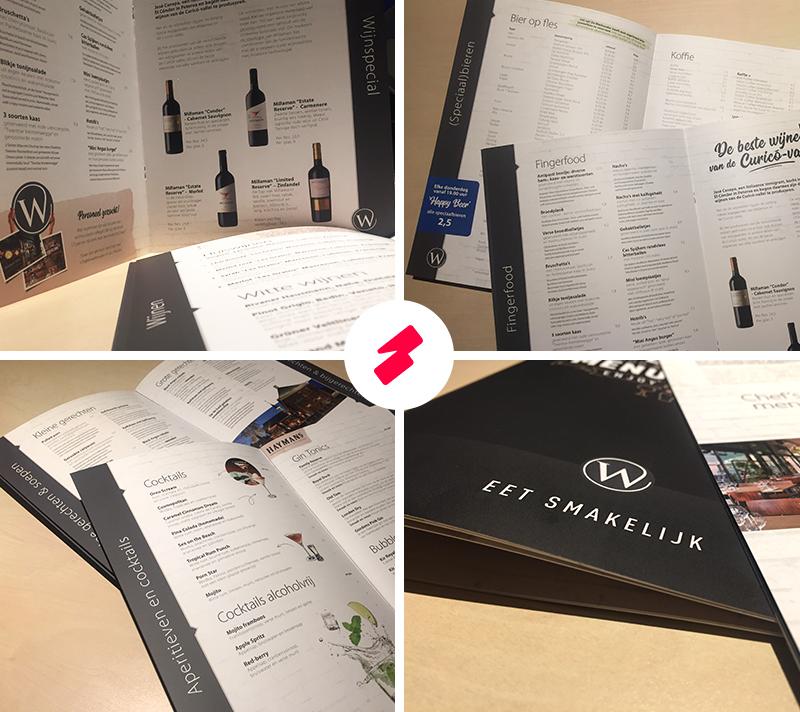 Horeca drukwerk Denekamp - Geniete menukaart met volledig mat laminaat