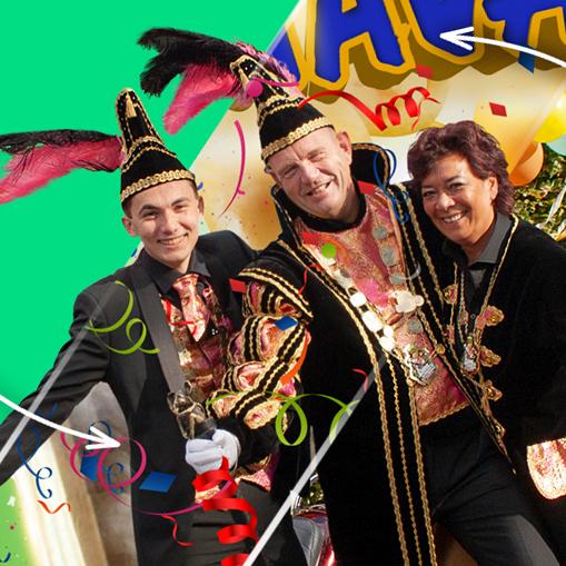 Carnaval 2020 Overdinkel - Graaf Appie, adjudant marvin en hofchauffeuse patrica