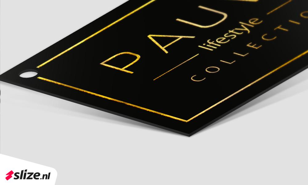 Label met goud gedrukt | Mock-up drukwerk Oldenzaal van Slize