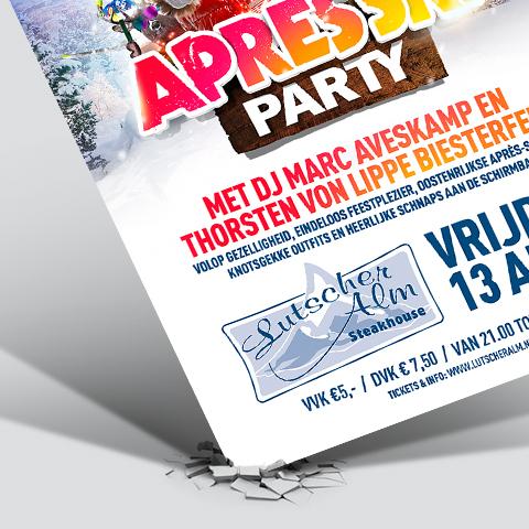 Mock up van een poster / flyer ontwerp - Apres Ski Party Enschede / Losser
