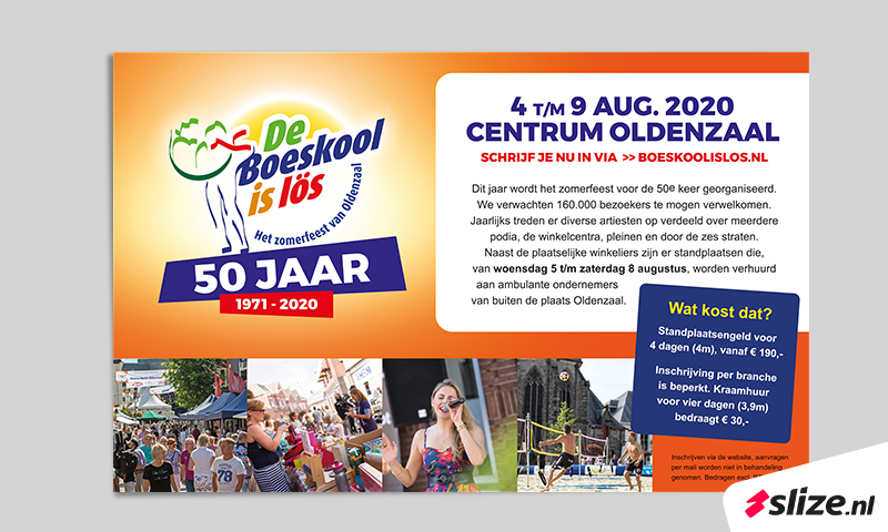 Inschrijven en aanmelden braderie De Boeskool is Los in Oldenzaal, advertentie opmaak