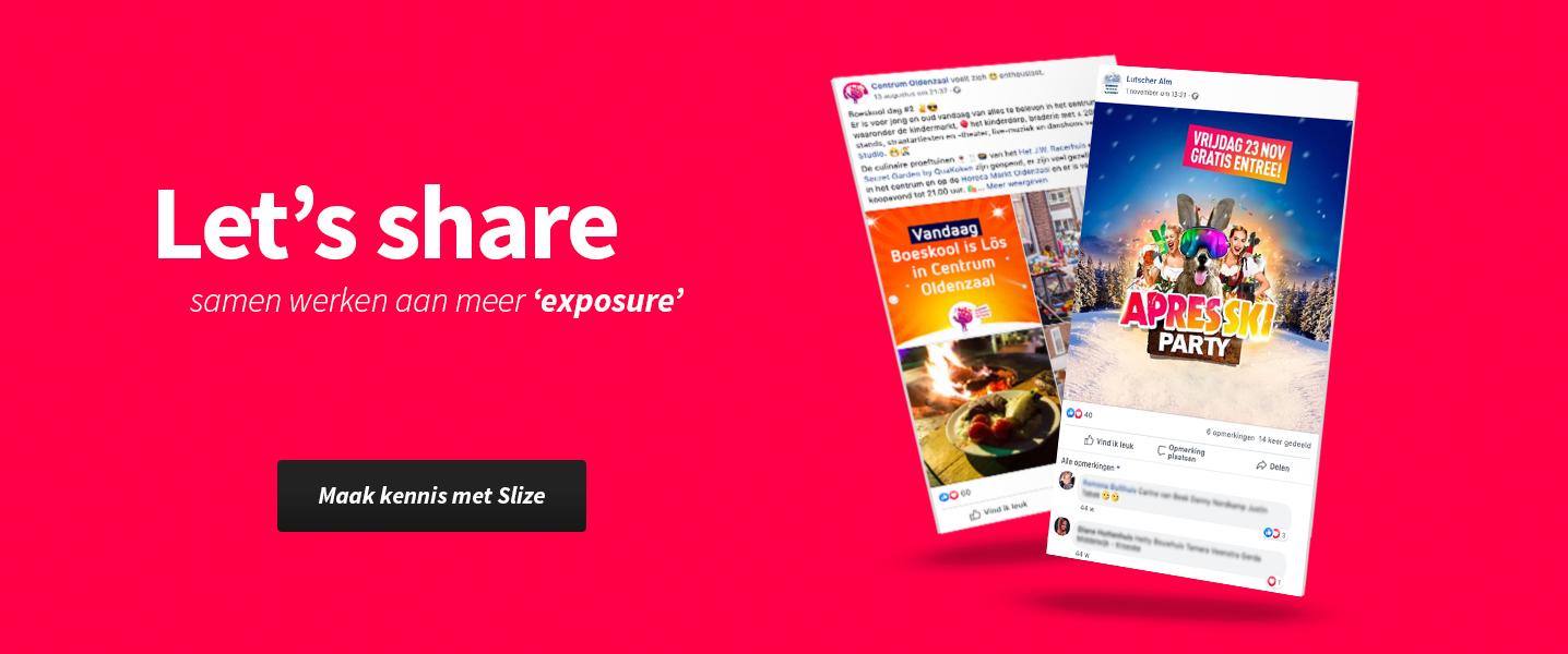 Ontwerp en DTP voor social media - Content creatie portfolio Slize Oldenzaal voor evenementen en het MKB in Twente