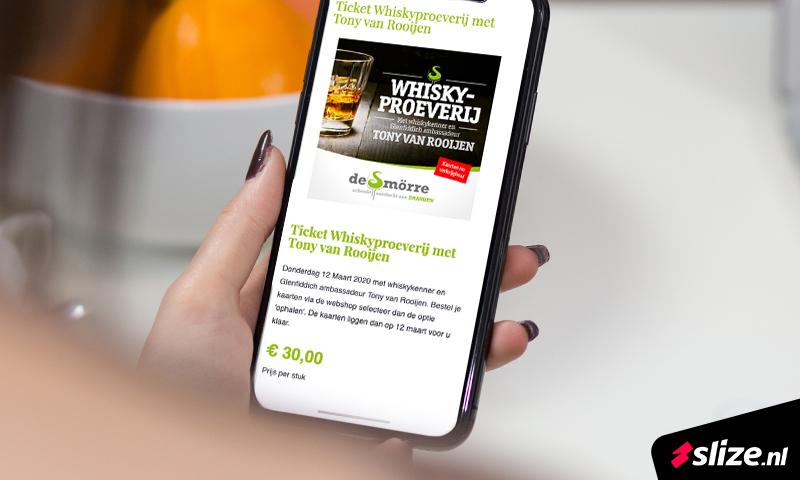 De online content verzorgen - visual mobiele webshop, kaartverkoop whiskyproeverij Oldenzaal