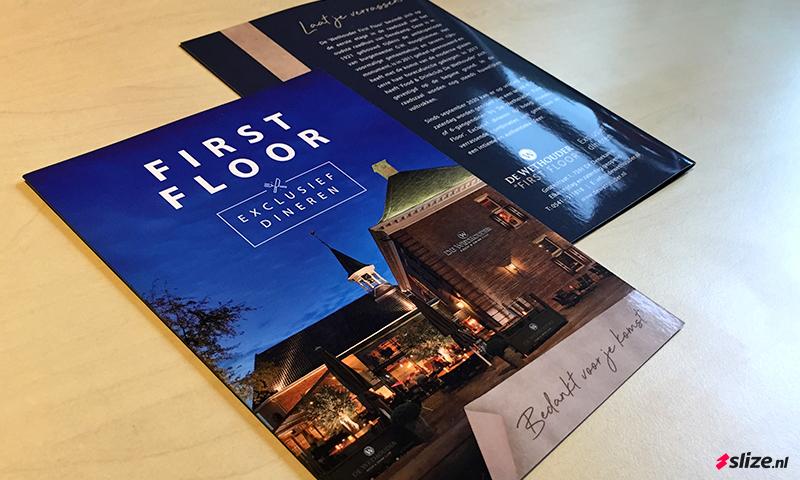 Luxe glanzende kaarten drukken - Drukwerk voor De Wethouder First Floor in Denekamp
