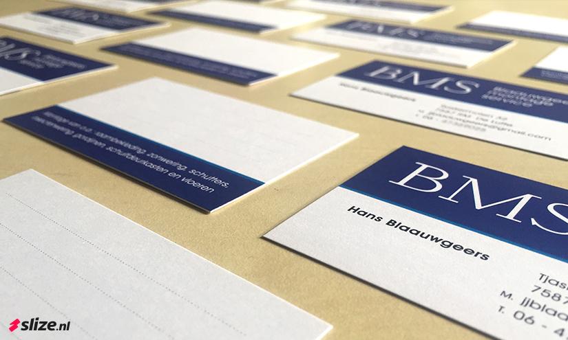 Goedkope en goed beschrijfbare visitekaartjes drukken - BMS Blaauwgeers Montage Service De Lutte