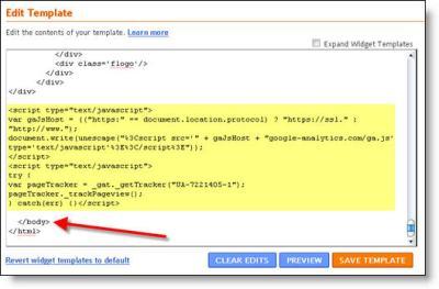 blogger google analytics code 2