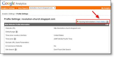 Google Analytics Blogger Dashboard Check Code