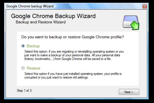 Google Chrome Backup Wizard