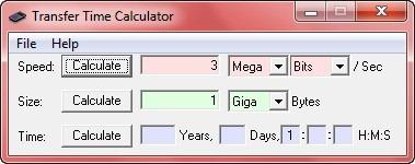 transfer time calulator