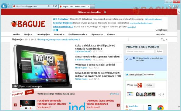 """Prikaz Internet Expolorera 10 sa klasičnim """"desktop"""" izgledom"""
