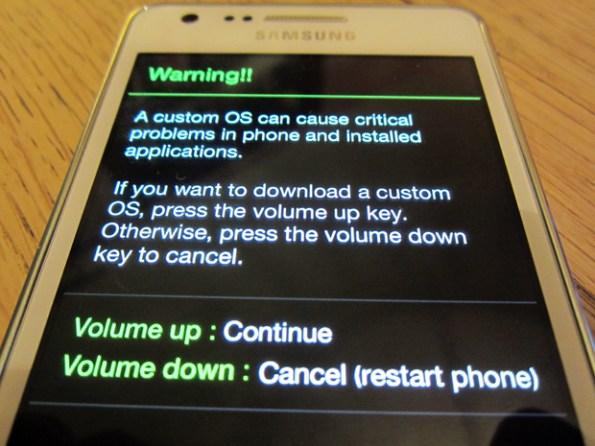 galaxy s2 warning