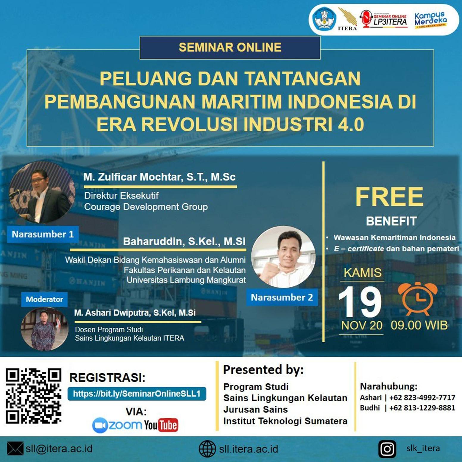 Materi Seminar Online #1 – PELUANG DAN TANTANGAN PEMBANGUNAN MARITIM INDONESIA DI ERA REVOLUSI INDUSTRI 4.0