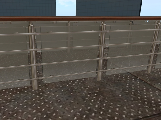 Second Life Marketplace Glass And Metal Railing With Frosted | Frosted Glass Stair Panels | Smoked | Toughened | Deck | Balcony | Contemporary