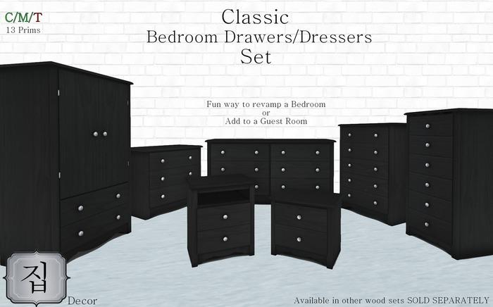 classic bedroom drawers dressers sets black