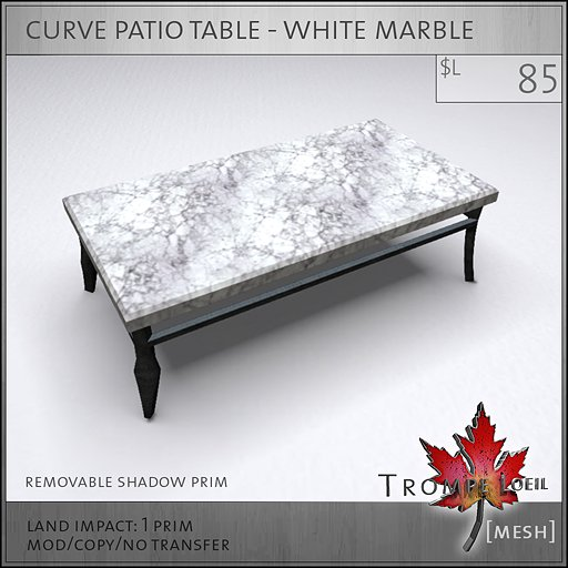 curve patio table white marble mesh