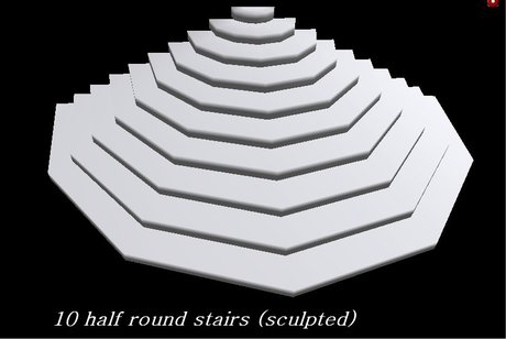 Second Life Marketplace Half Round Stairs 10 Steps   Half Round Stairs Design   Grand Staircase   Wooden   Rounded   Railing   Beautiful