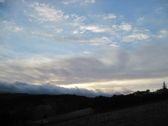 Sky over Croad Vineyard and Tasting Rooom on January 29, 2011