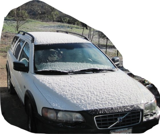 Frost or hail on my Volvo in Templeton, CA, Feb. 27, 2011