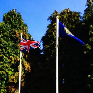 Commonwealth and UK flags on flagpoles.