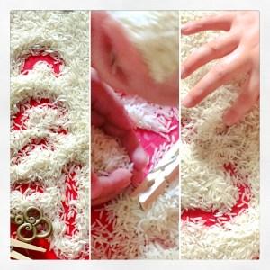 Rice sand tray.