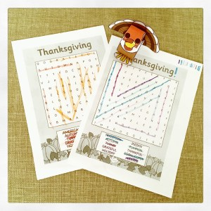 Thanksgiving 2017 word search and 3D turkey craft by Twinkl.