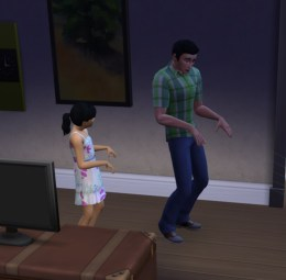 Daddy's girl, Danielle, learns some dance moves from her pop.