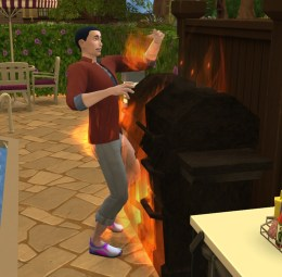Felix nearly died while trying to grill hamburgers on the recently bought grill.