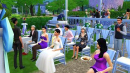 You know, no one sat on these chairs during the ceremony but they all chose to sit on them to eat instead of sitting by the dining tables close to the buffet. Sims!
