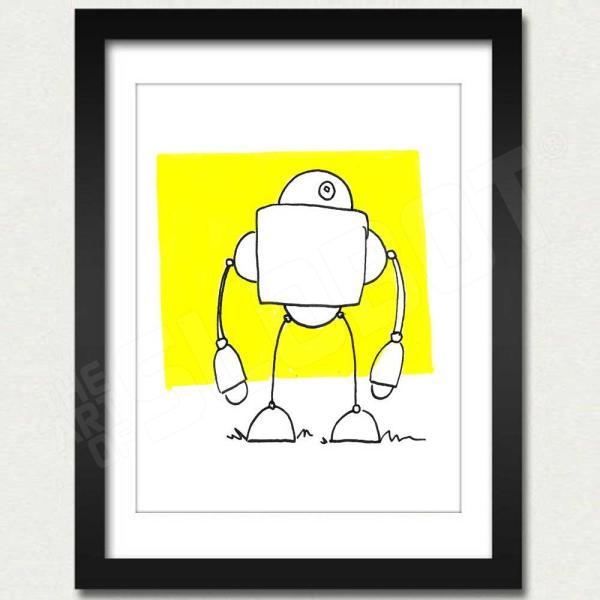robot art print yellow robot artist mike slobot framed