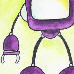 mike slobot watercolor robot pop art detail