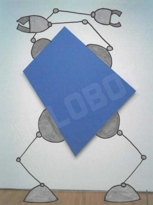 blue robot art prints ellsworth kelly blue panel mike slobot