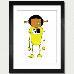 mike slobot willy wonka oompa loompa deep roy yellow slonkabot framed