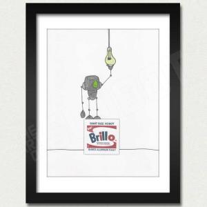 Warhol Robot Brillo Box Light Bulbs outside the box framed mike slobot