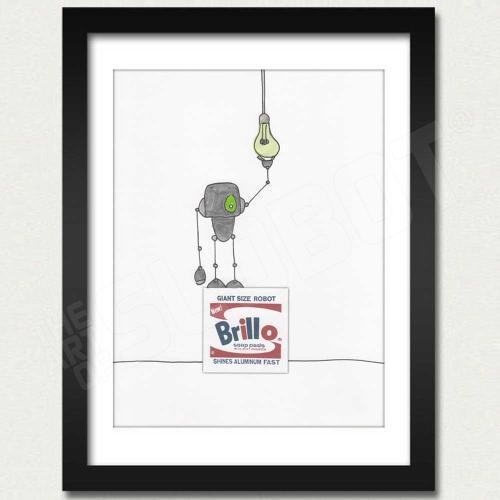 Warhol Robot Brillo Box Light Bulbs outside the box framed mike slobot