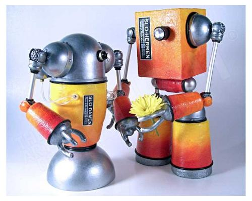 Mike Slobot Robot pop Love Art with a Flower