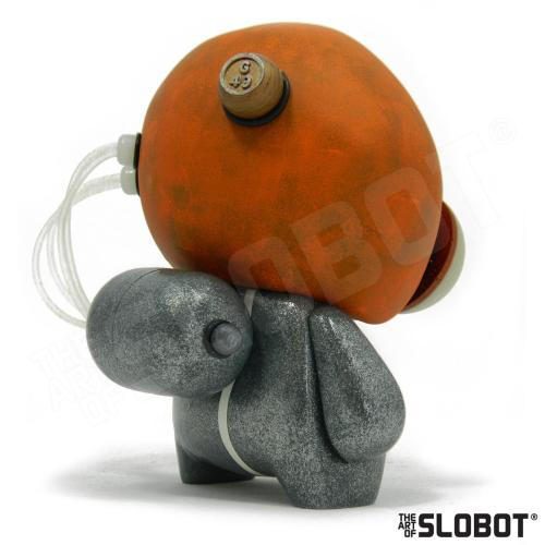 Mike Slobot G49 Robot Pop Art Left Read View space age orange silver