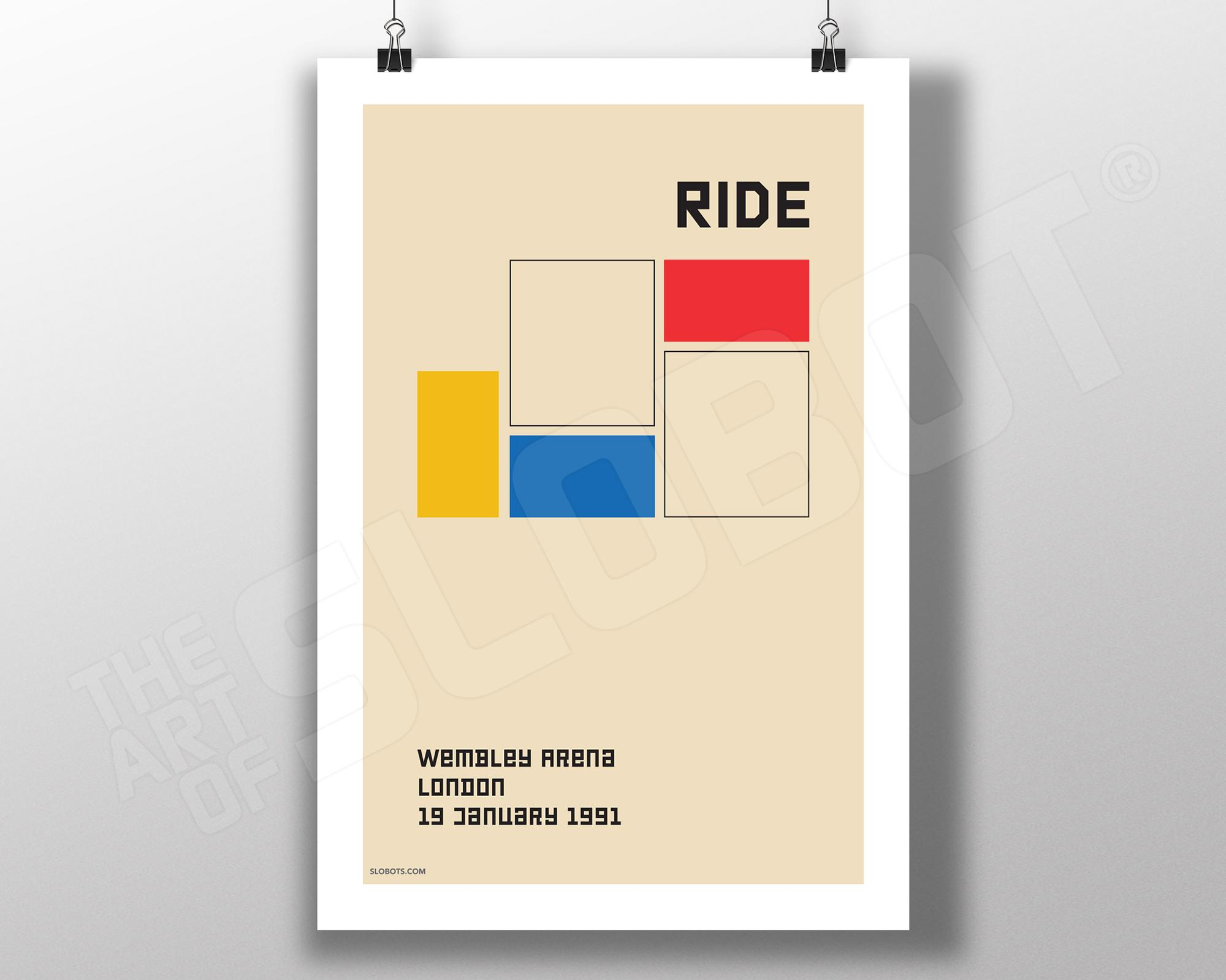 Mike Slobot Music Inspired Art - Ride Live in London 1991 in the style of the Bauhaus