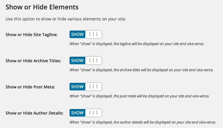 Show or Hide content in Minimize WOrdPress theme
