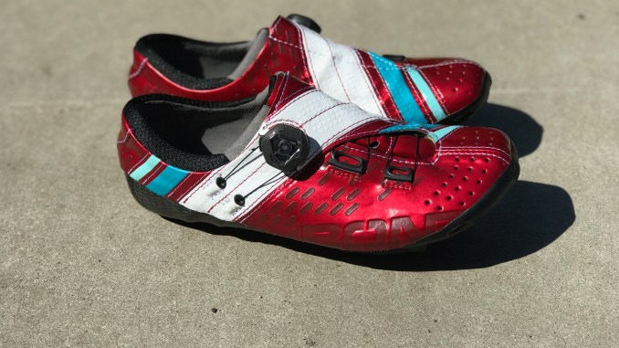 bont helix cycling shoes in red and white review