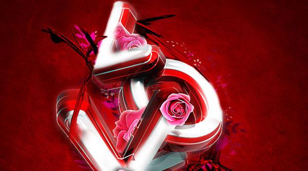 3D Valentine Day Typography