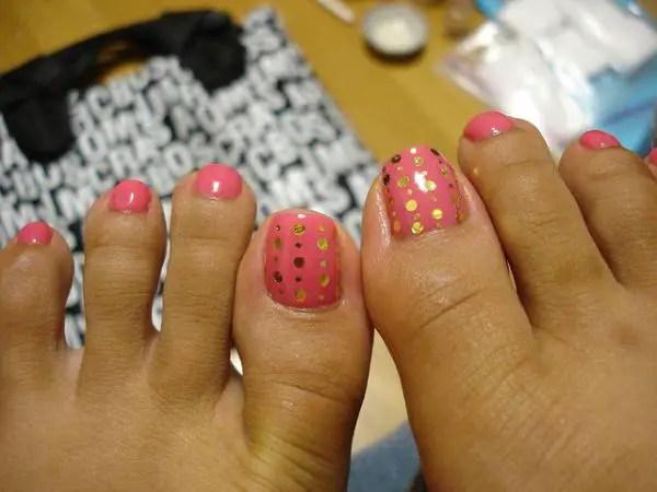 Mini Heart Toe Nail Design