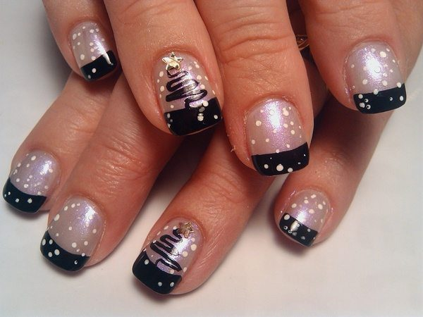 Pearl Nails With Black Tips White Dots And Christmas Trees