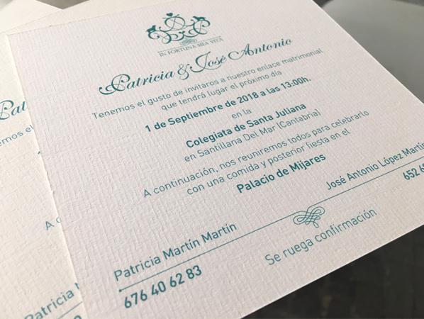 Invitacion boda Santillana Del Mar