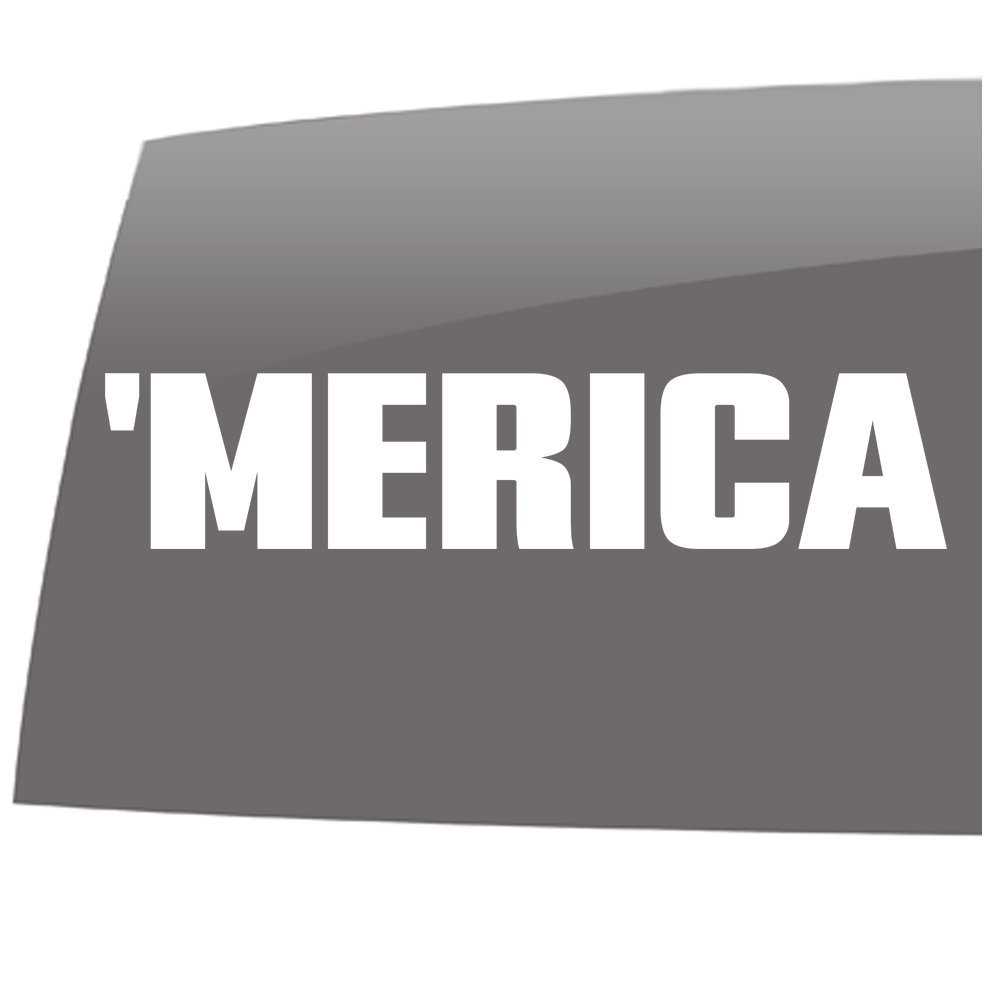 Merica – White – Window Decals – High Quality – 5 year – Outdoor ... 7f123e219aa
