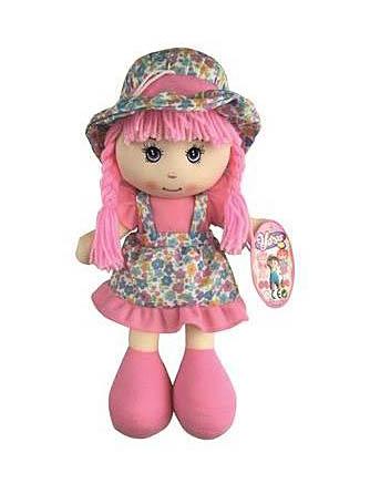 Krpena Lutka 35cm. Mekana lutka sa haljinom i šeširićem cvjetnog motiva.