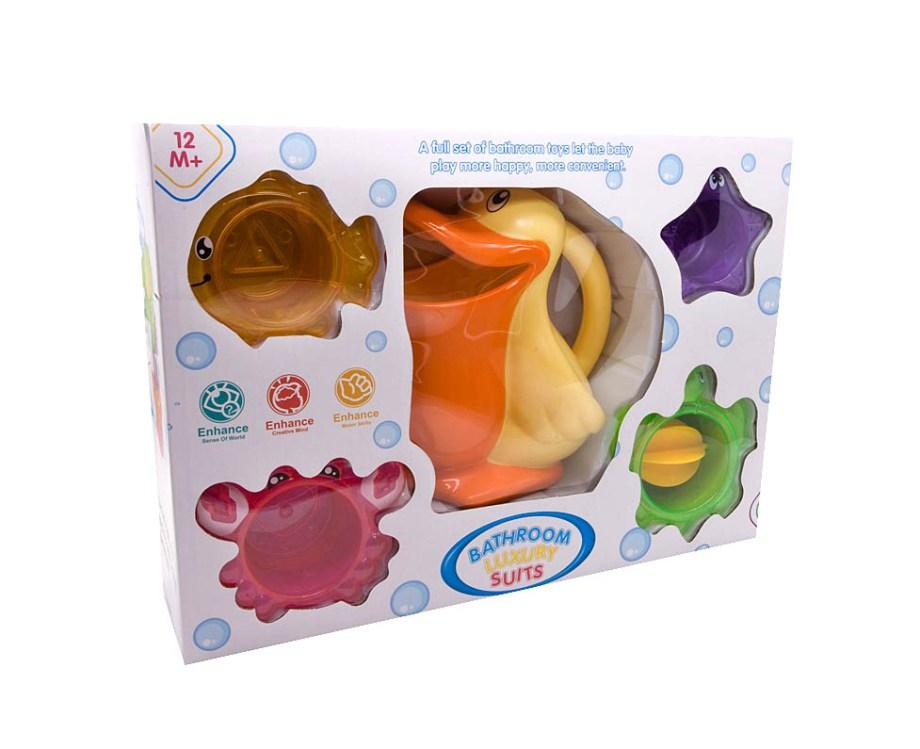 Set Zaljevaonik i čašice za kupanje 5komada. Simpatičan i šareni set za kupanje sadrži 1 zaljevaonik u obliku pelikana i 4 čašice za slaganje.