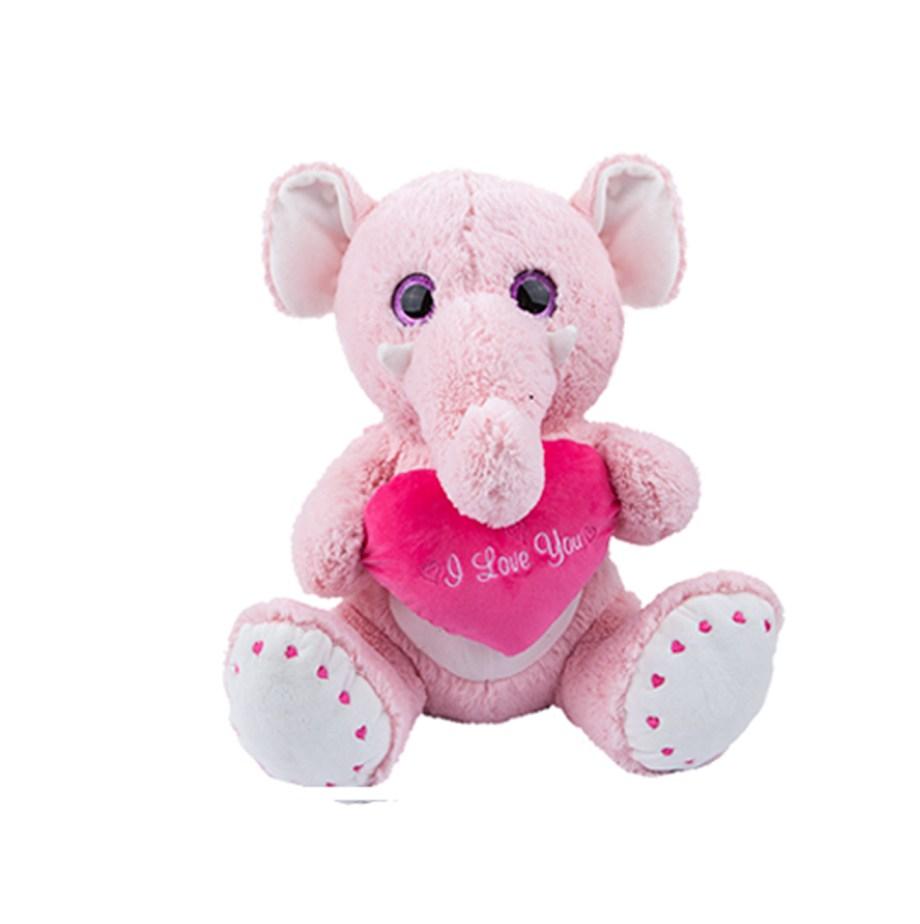 """Plišani Slon sa srcem I love You 51cm je mekani i čupavi. Plišani slon sa velikim glitter očima koji drži jastučić u obliku srca sa natpisom """"I love You""""."""